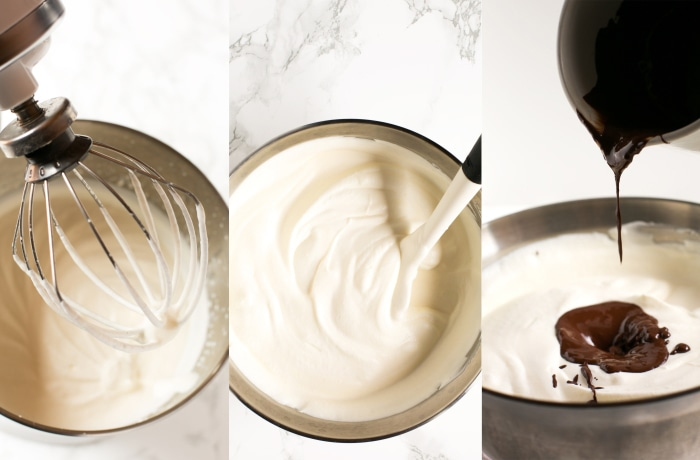 collage of recipe process: first image shows cream in a food processor, second image cream and condensed milk in a bowl, third image shows melted chocolate being poured into the bowl.